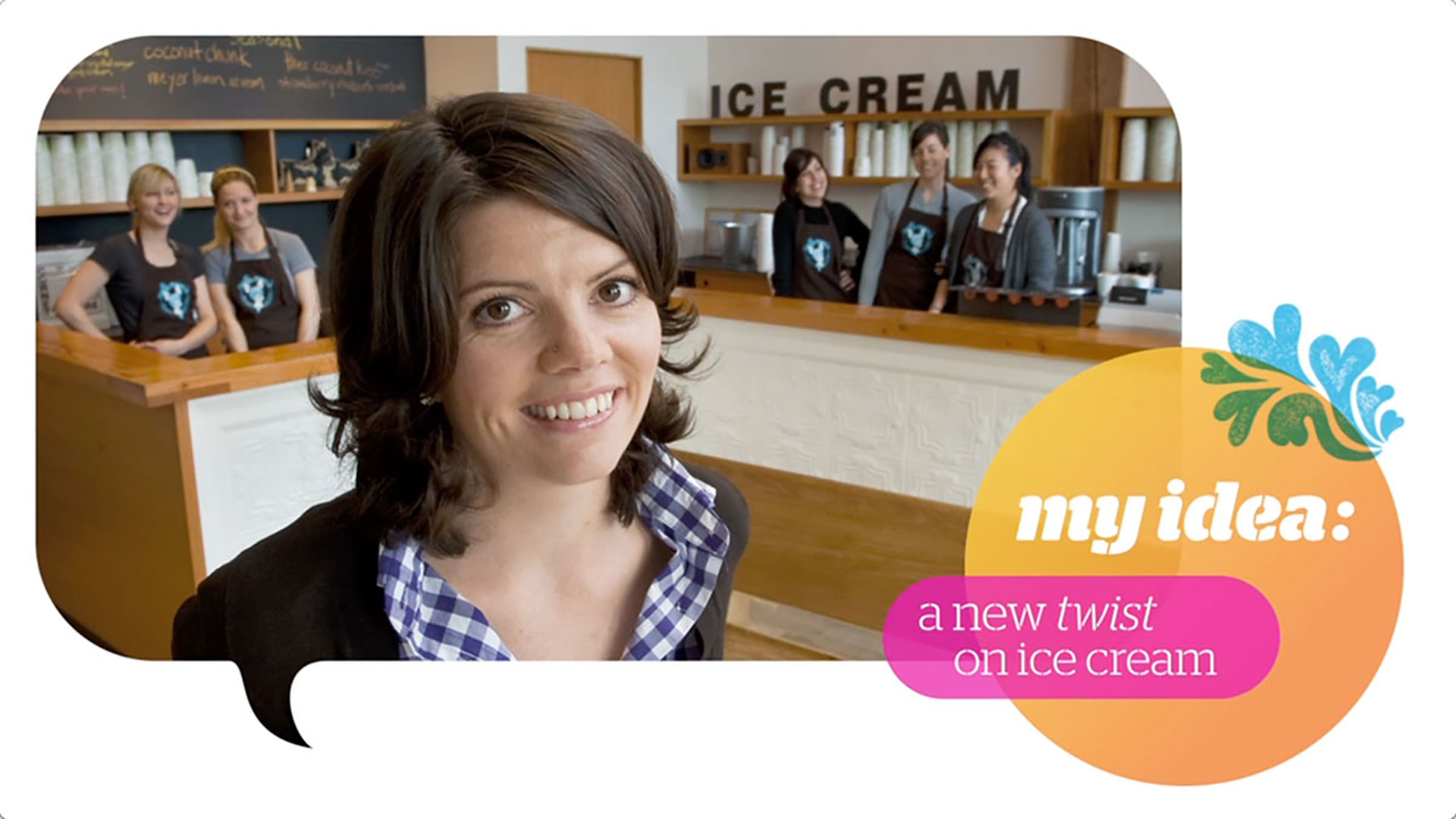 Screen capture of the intro slide for the AT&T Molly Moon video, showing Molly Moon smiling in here Seattle ice cream shop, with employees behind the counter in the background.