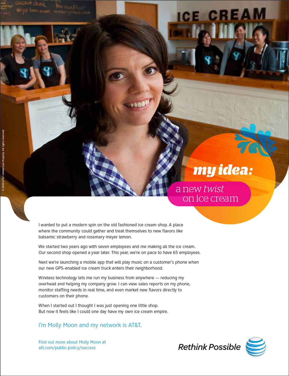 AT&T Molly Moon Small Business Success Story Print Ad