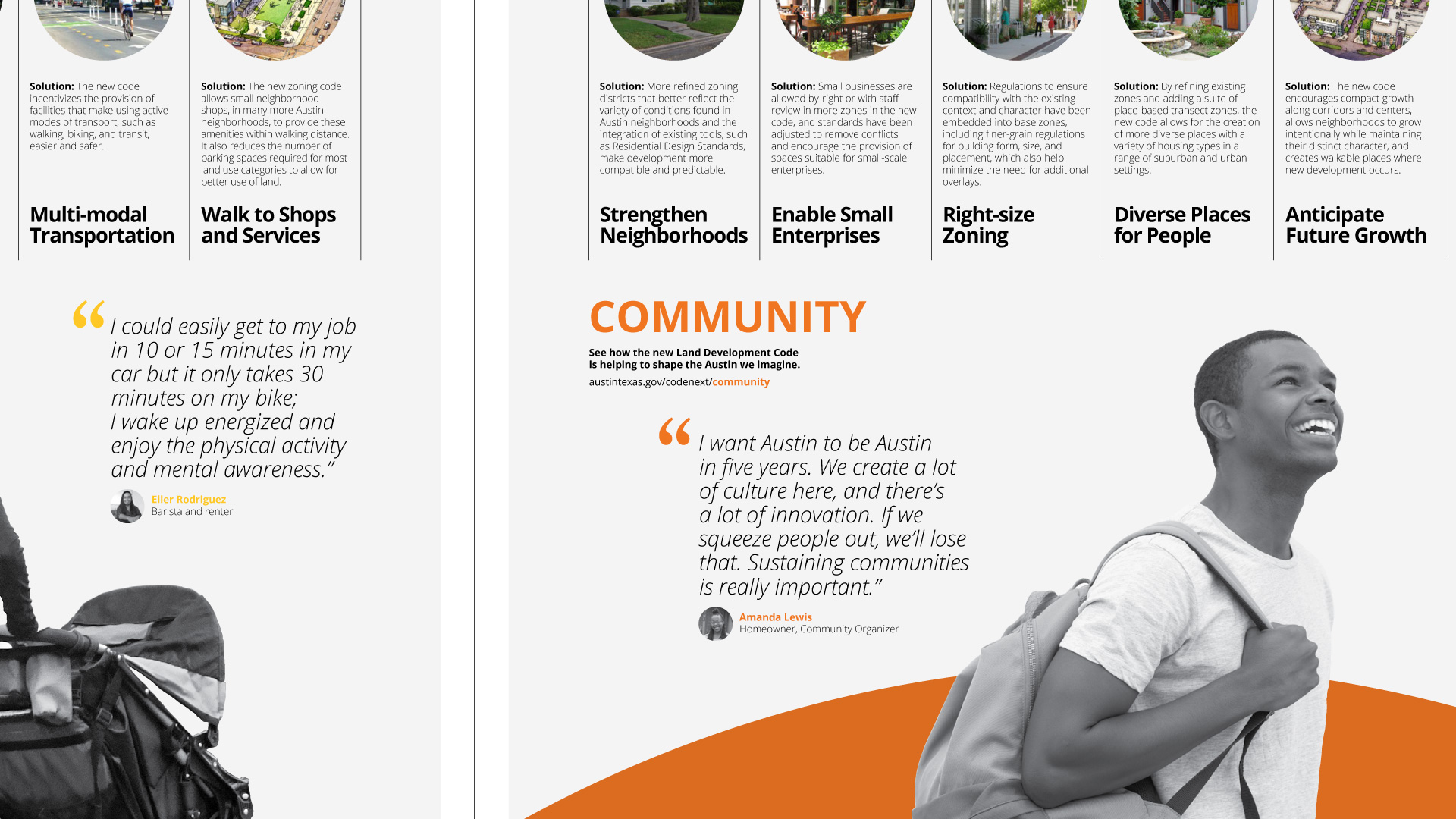 Cropped view of a series of posters presenting the community benefits of the new land development code