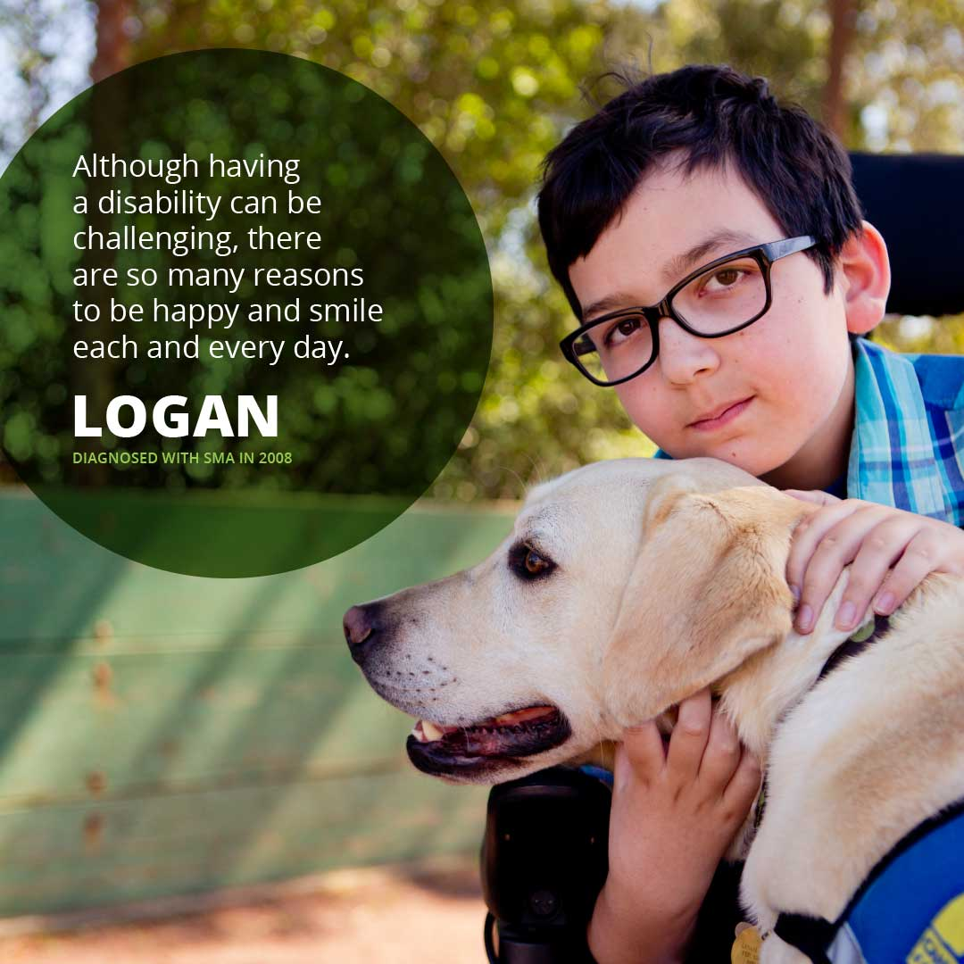 Portrait of Logan, diagnosed with SMA in 2008