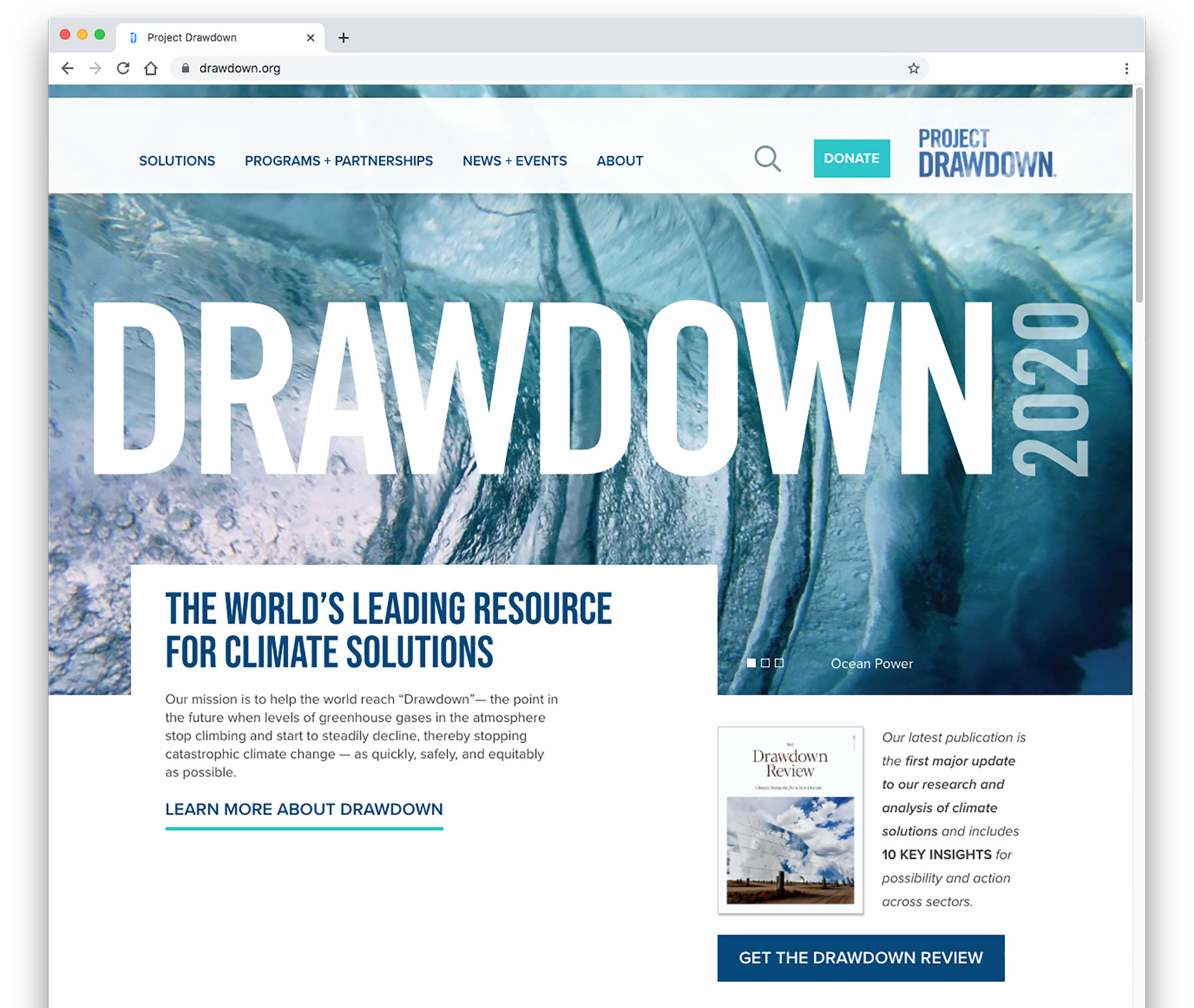 Screenshot of the drawdown.org website home page