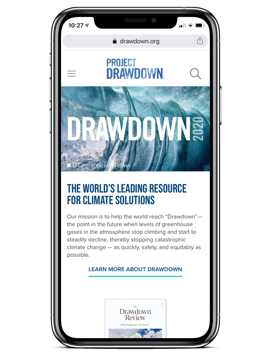 Screenshot of the Drawdown website on a mobile device showing Solutions by Sector