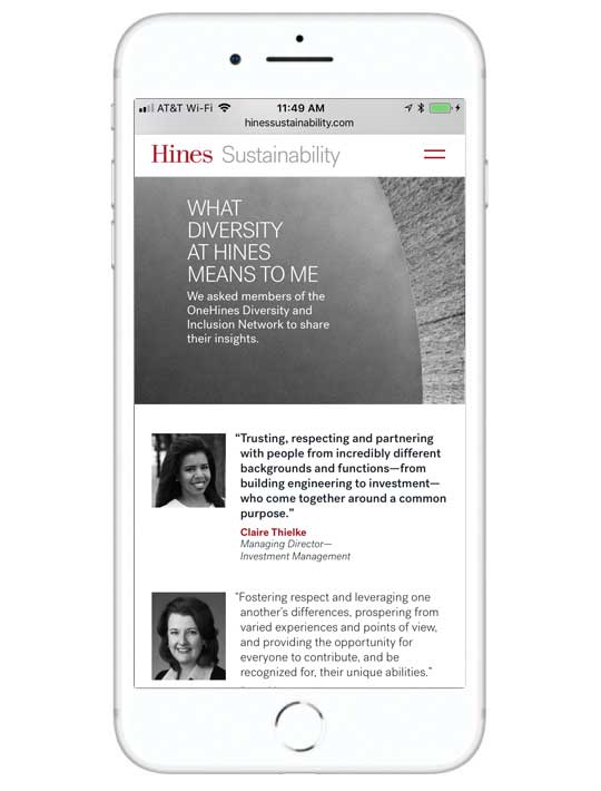 Screenshot of the Hines Sustainability website on a mobile device