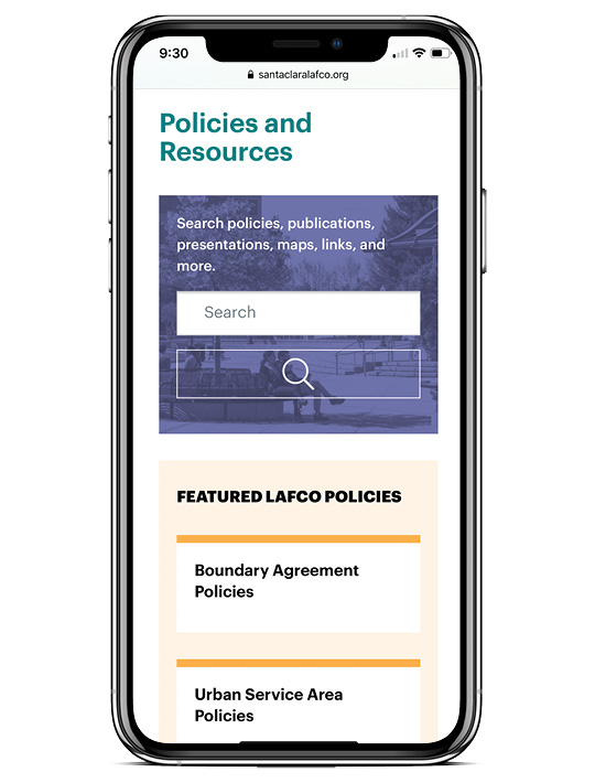Screenshot of the Santa Clara LAFCO website on a mobile device