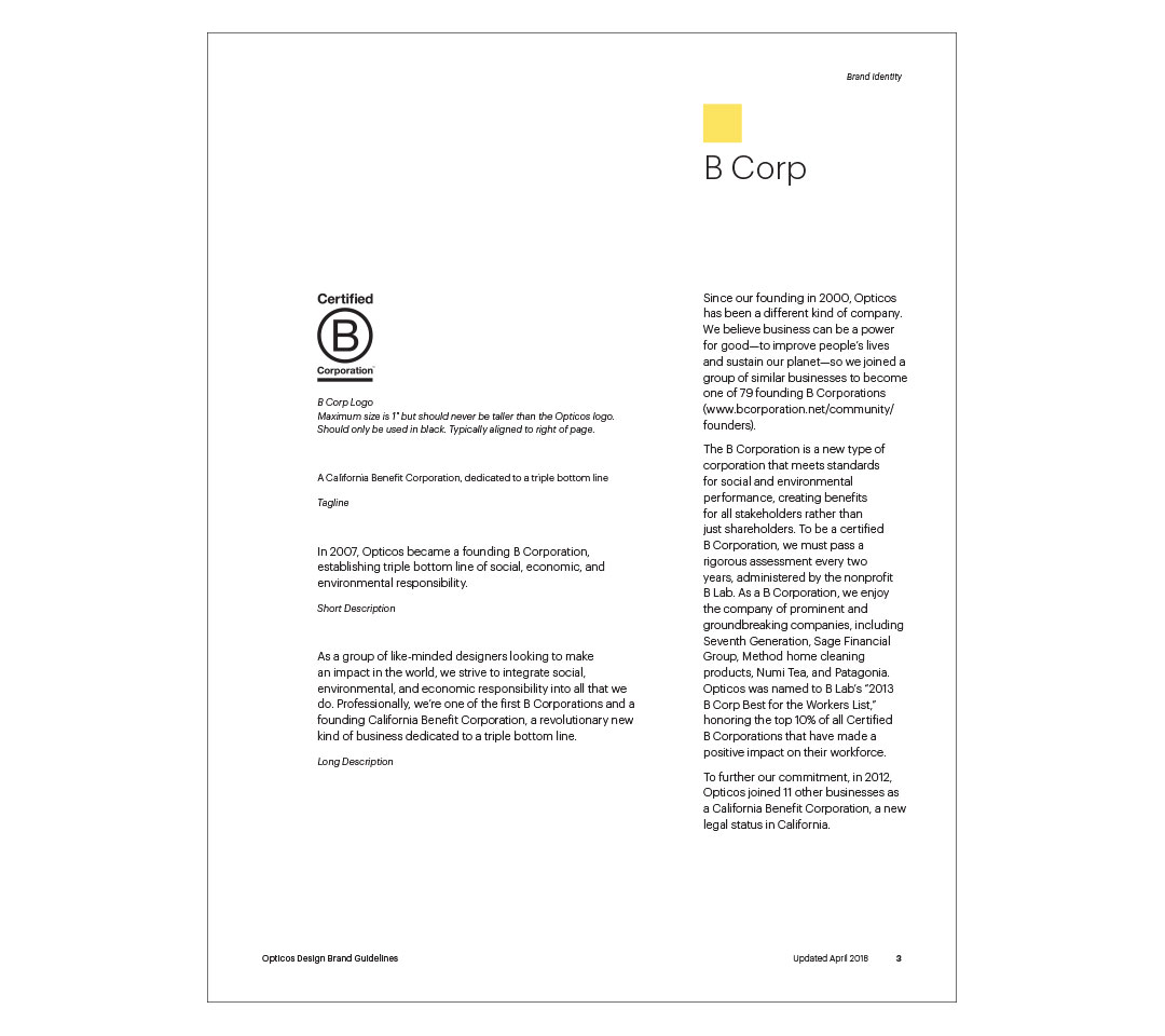 Pages from Opticos Style Guide