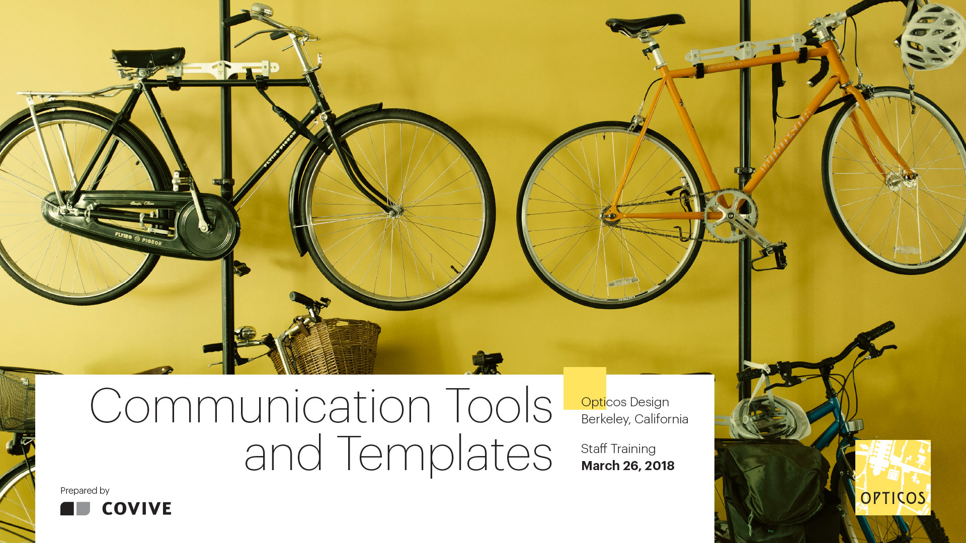 Cover slide for a Communications Tools and Templates staff training presentation