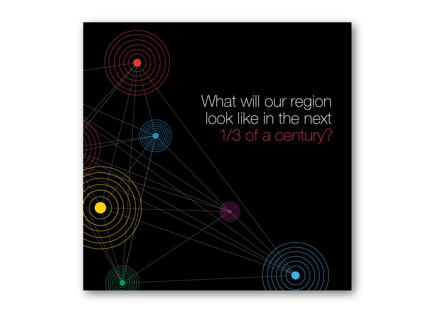 Black album cover design with text: What will our region look like in the next third of a century?