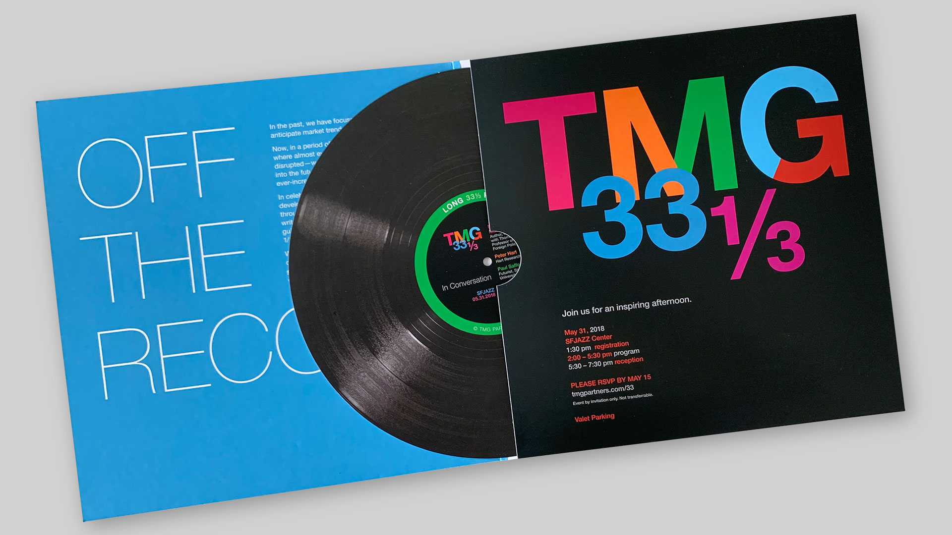 Event invitation designed as a record album cover, with printed record inside.