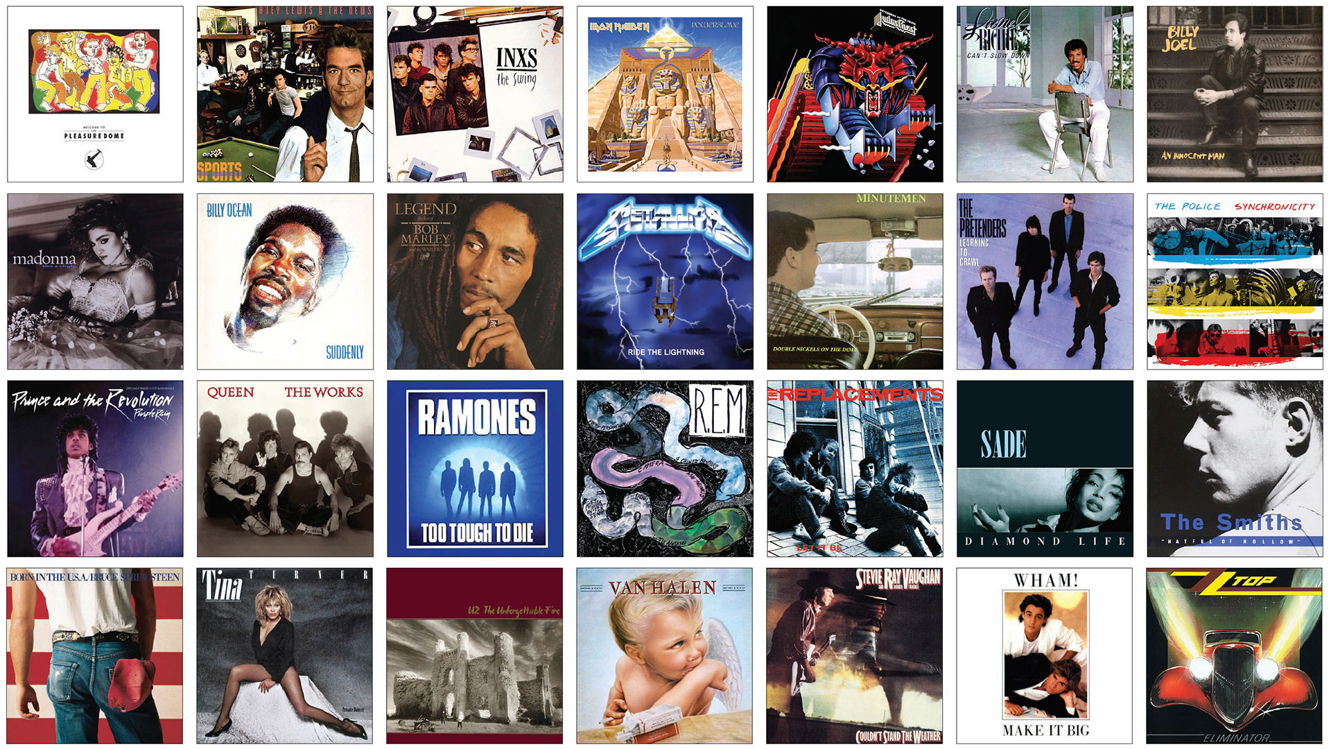 A grid of popular album covers used for back of name tags.