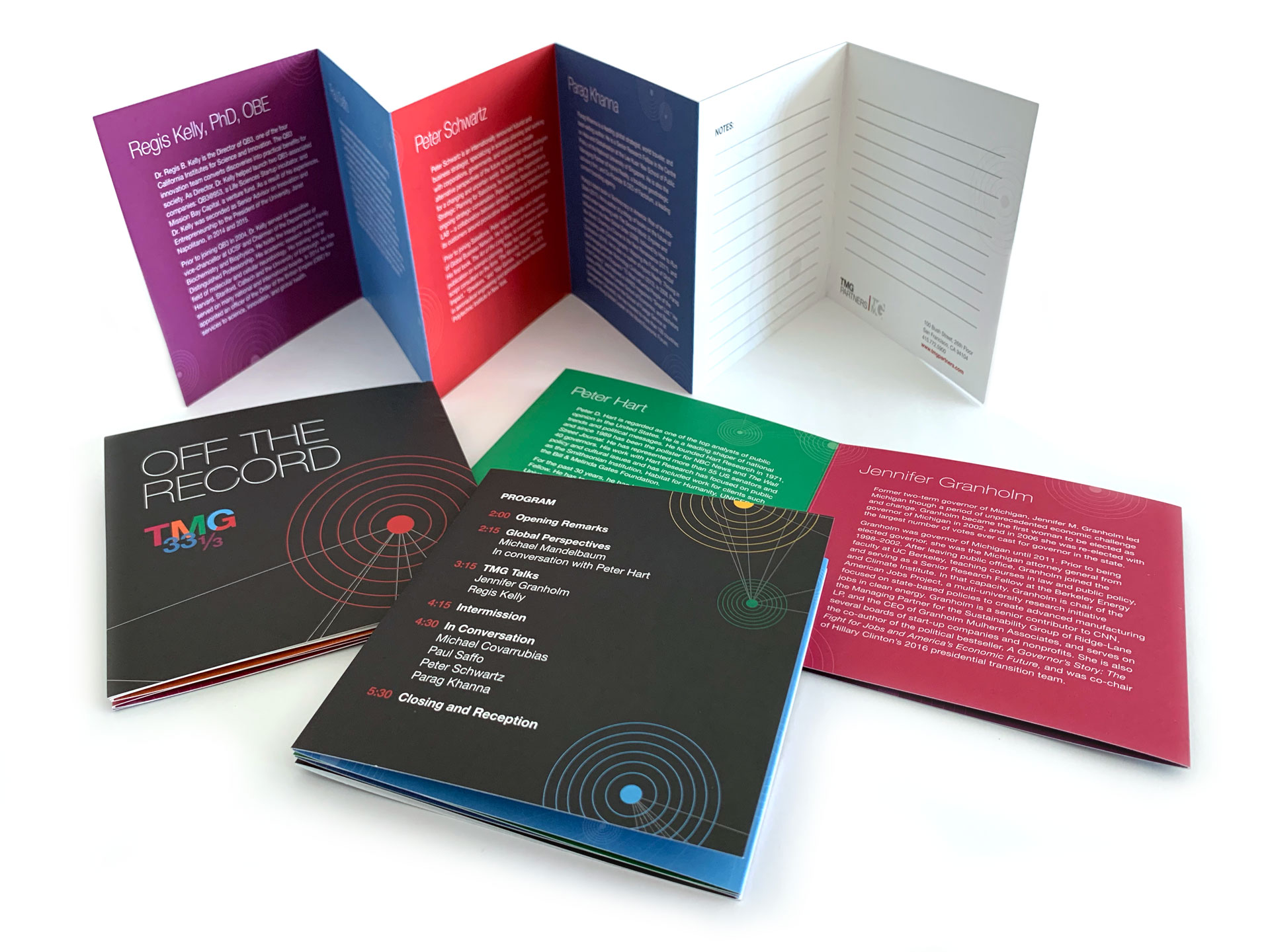 Photograph of folded programs showing front, back, and expanded to show speaker biographies.
