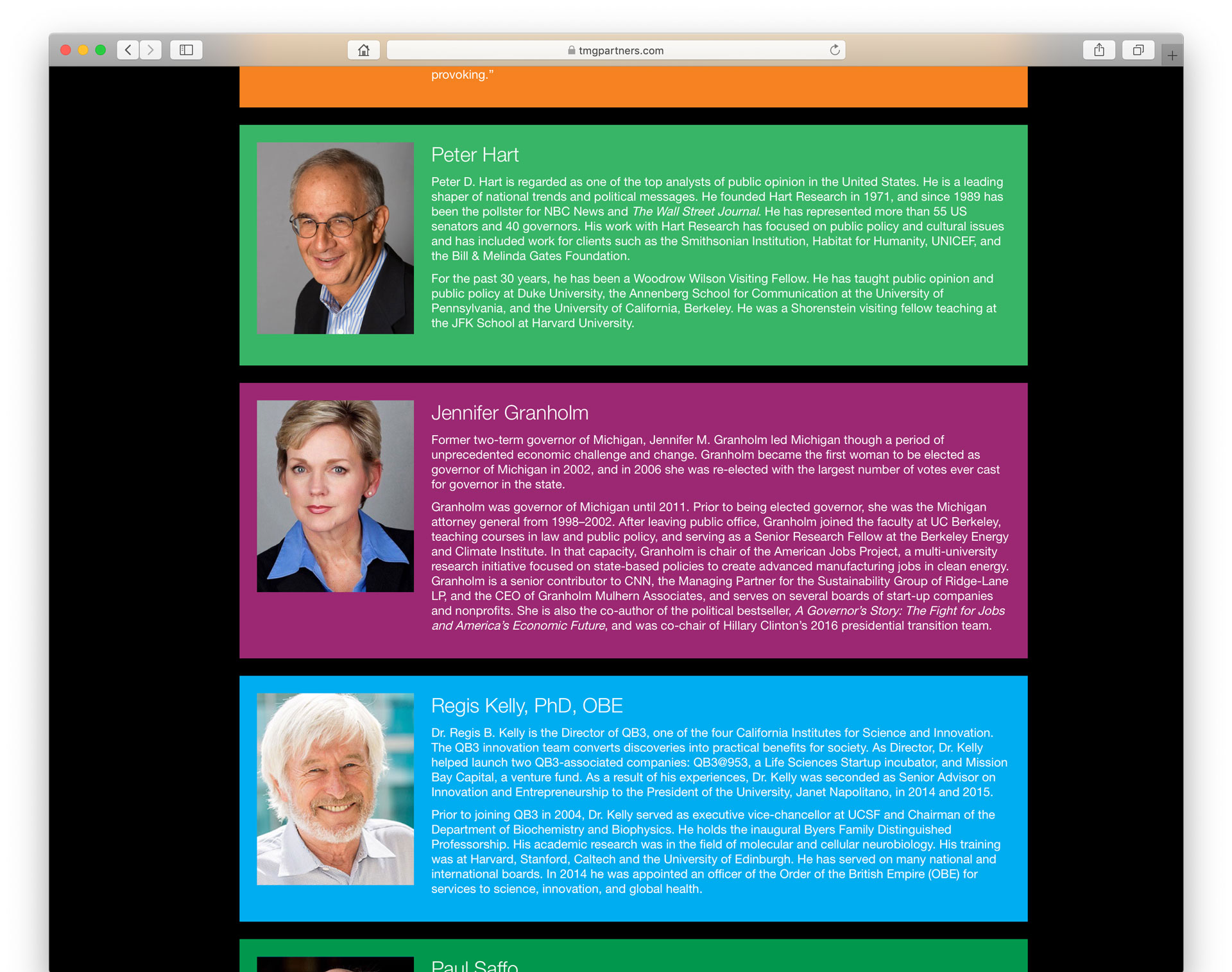 Screenshot of event web page showing speaker biographies.