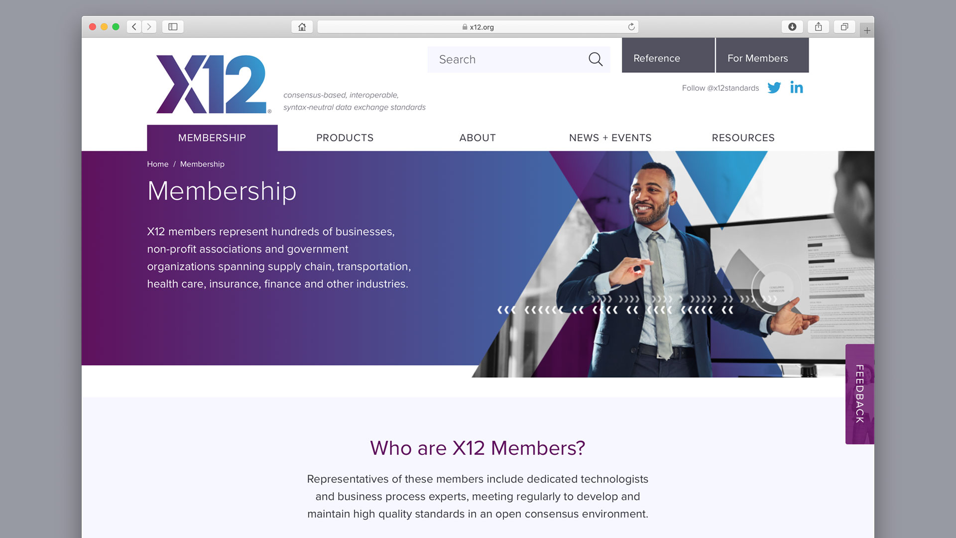 Screenshot of the X12 website Membership section landing page.