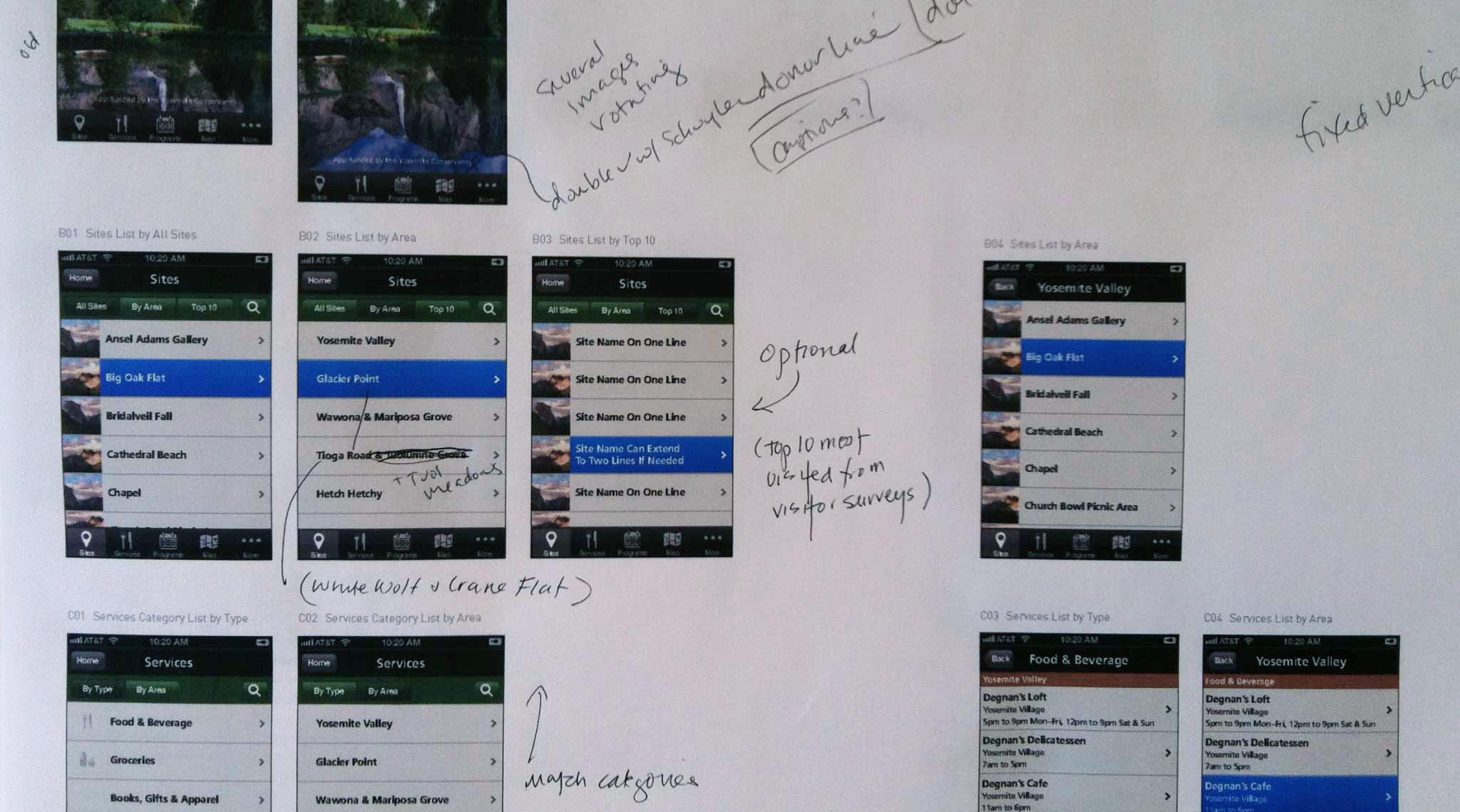 Slider Image: Print out of app visual design with hand-written design comments and notes