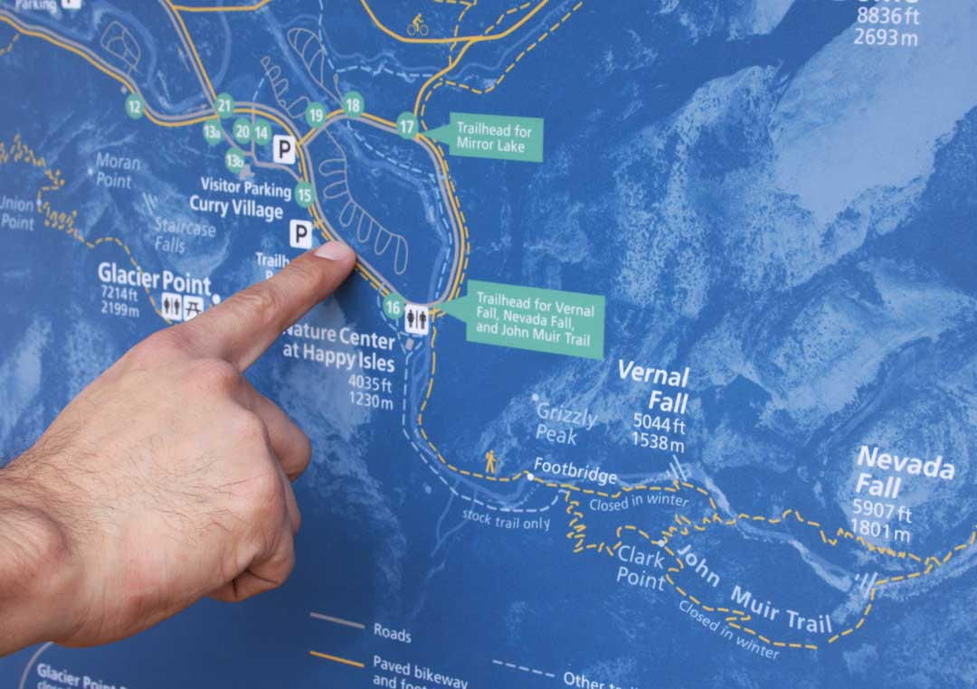Close up of finger pointing at interpretive map of Yosemite Valley