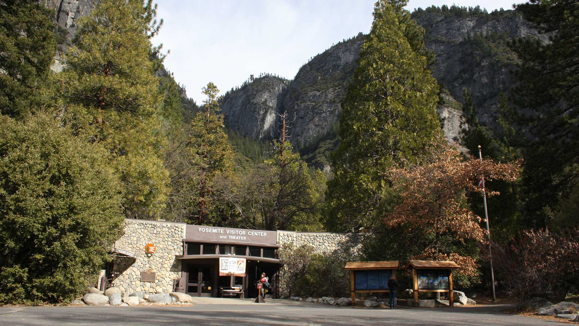 Interpretive signs in front of Yosemite Valley Visitor Center