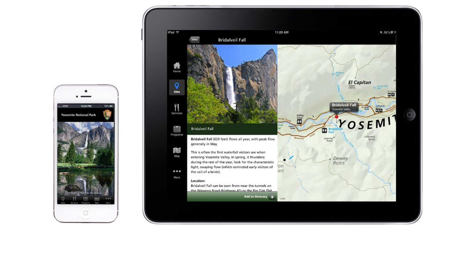 iPhone and iPad side by side showing the launch screen and sample interface screens from the NPS Yosemite app