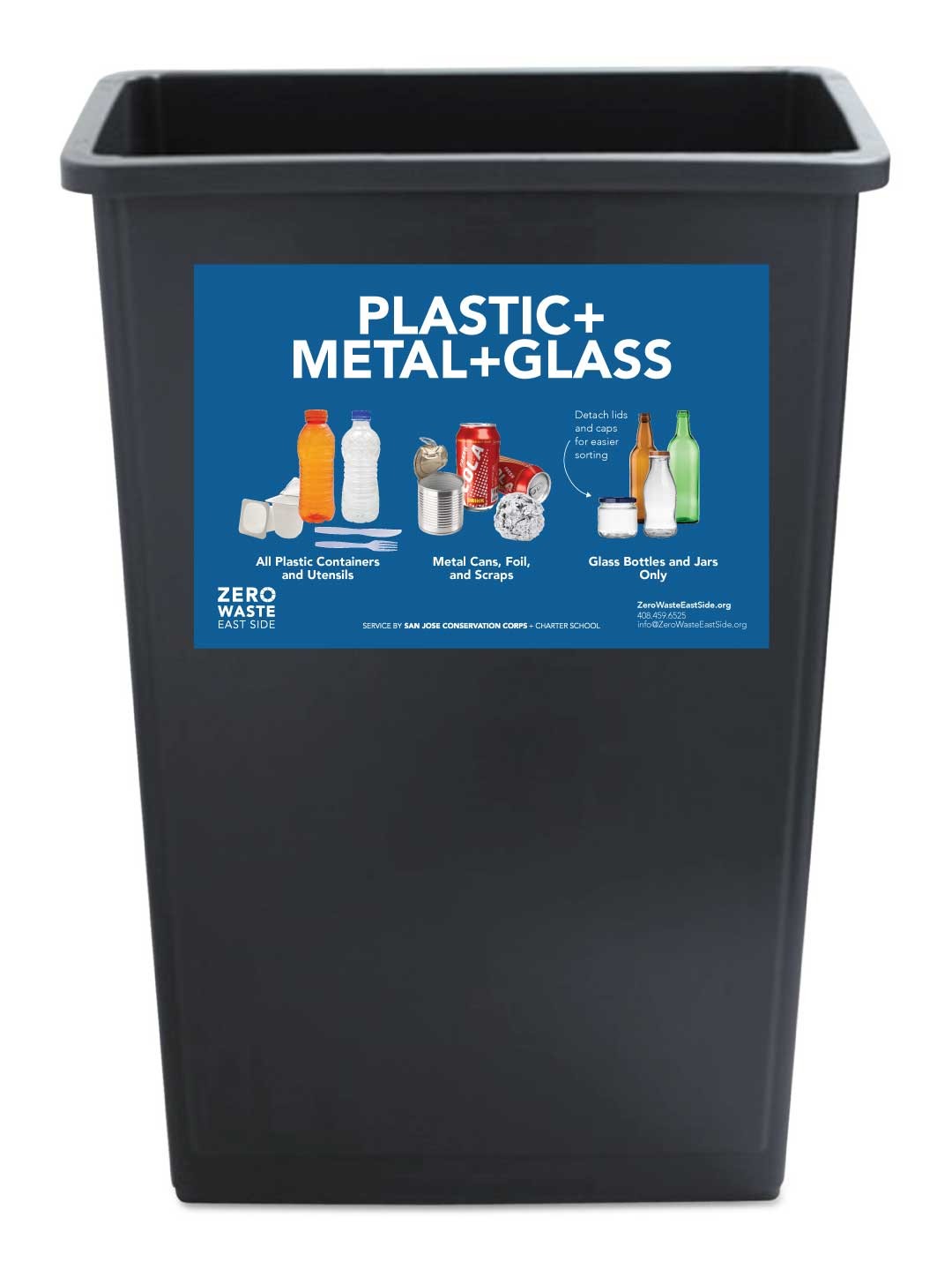 Receptacle Label for Plastic + Metal + Glass