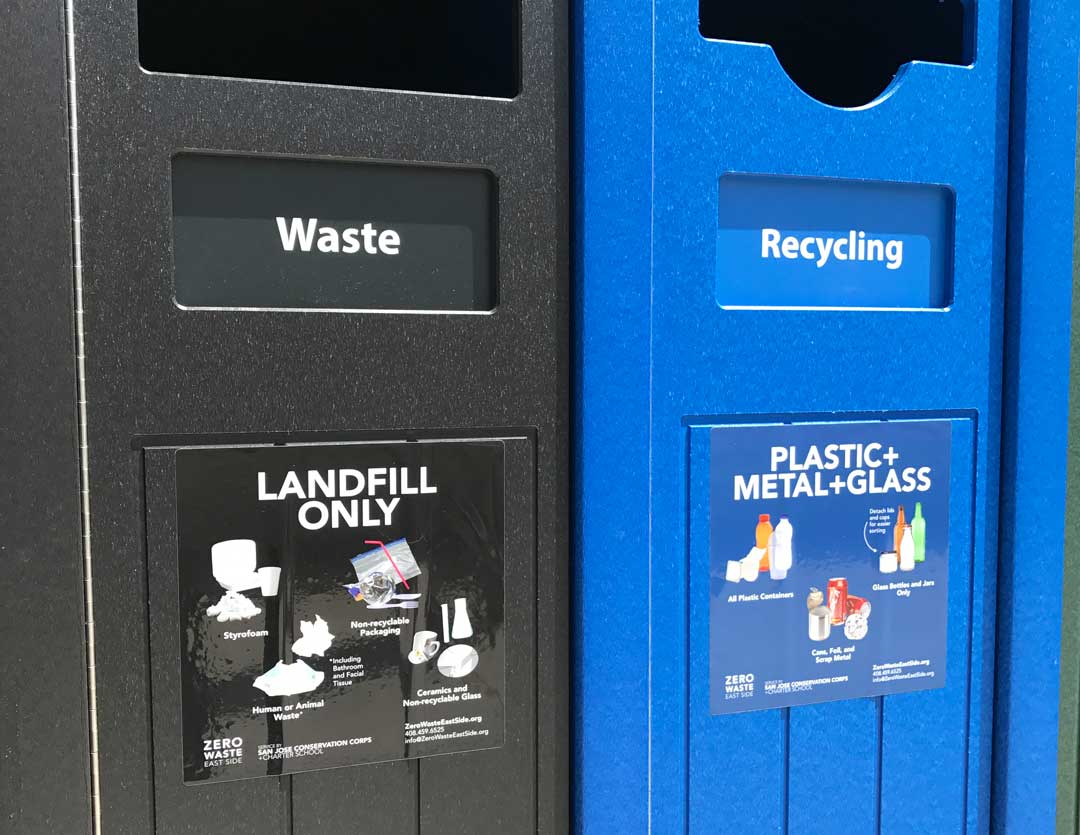Receptacle Labels for Paper + Cardboard; Plastic + Metal + Glass; Food Waste; Landscape Waste; and Landfill Only