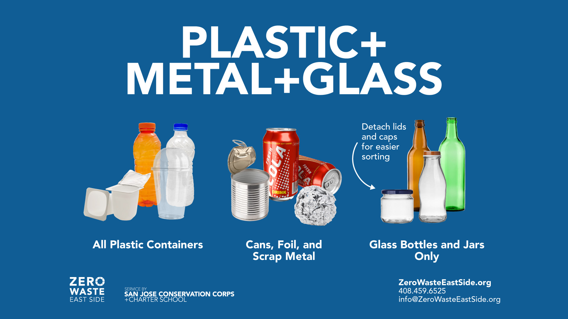 Blue label for Plastic Metal and Glass recycling with photos showing accepted materials.