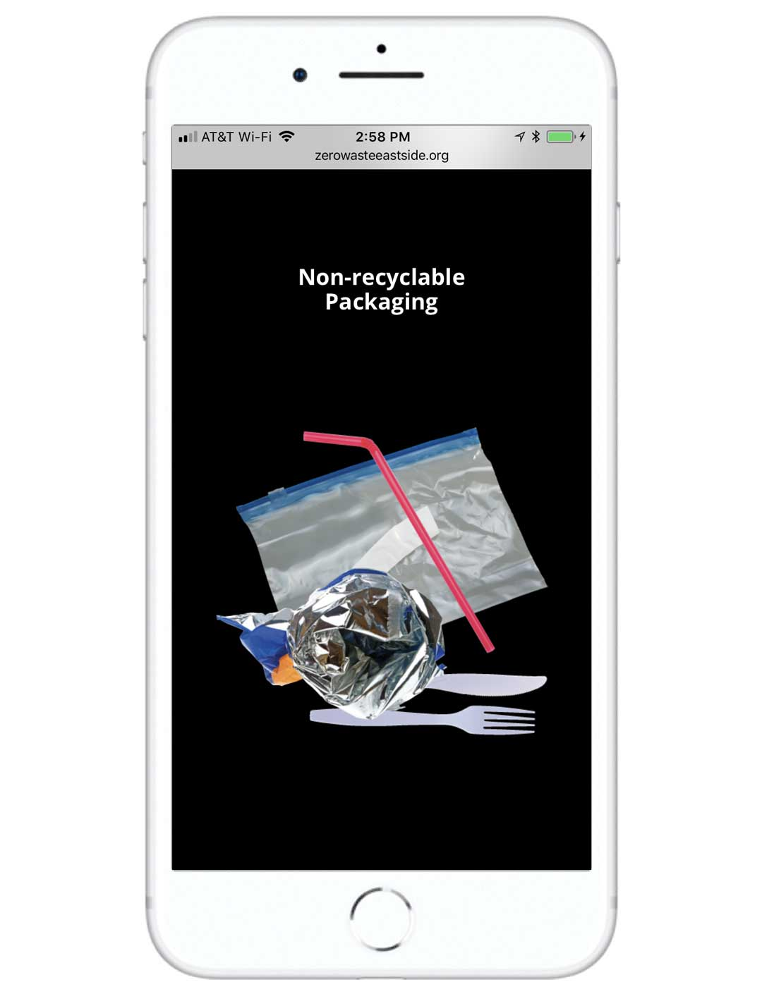 Screenshot of the Zero Waste East Side website on a mobile device